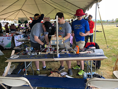 Kettering's Aero Design team working at the 2018 competition