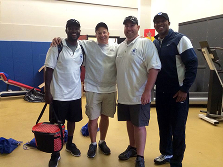 Willy Joseph '09, Eric Mangini (Former NFL Head Coach), James Knorr (CoachMe CoFounder), Alex Hicks '08 (CoachMe Supporter) at the Eric Mangini Football Camp