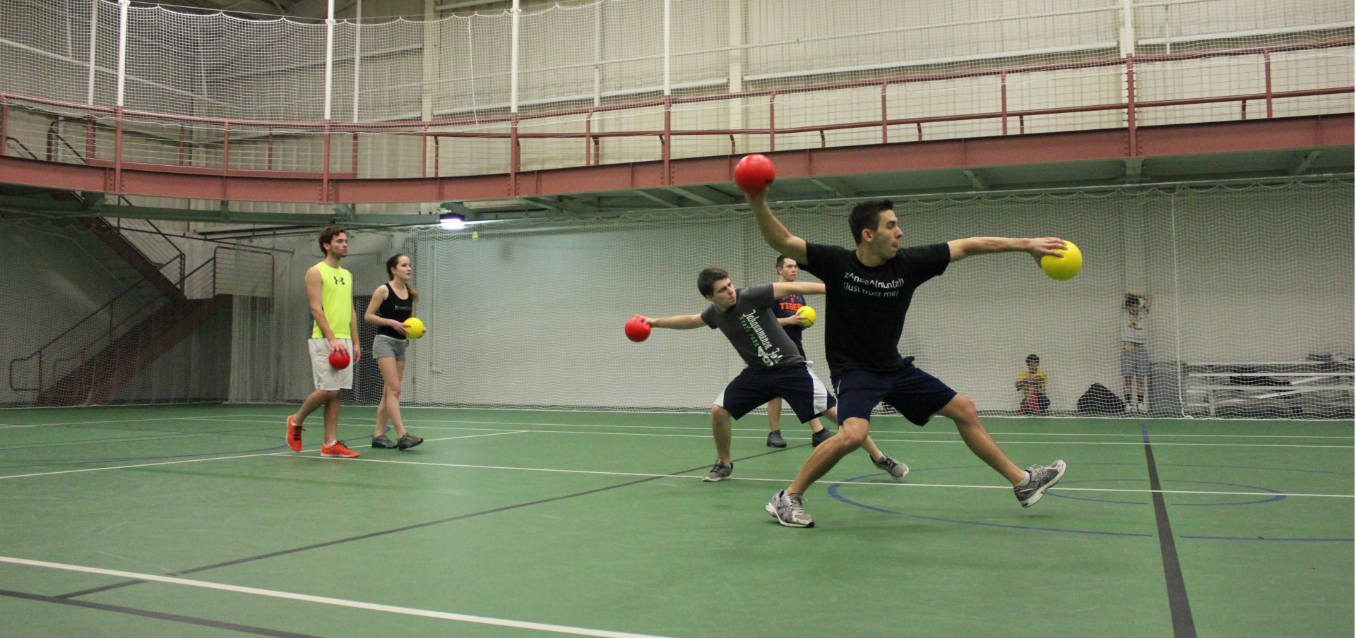 A friendly game of dodgeball in the recreation center.