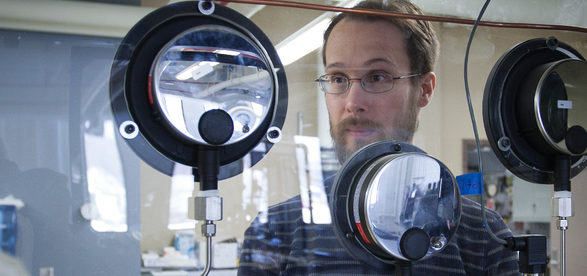 Professor Jonathan Wenzel in chemistry engineering lab