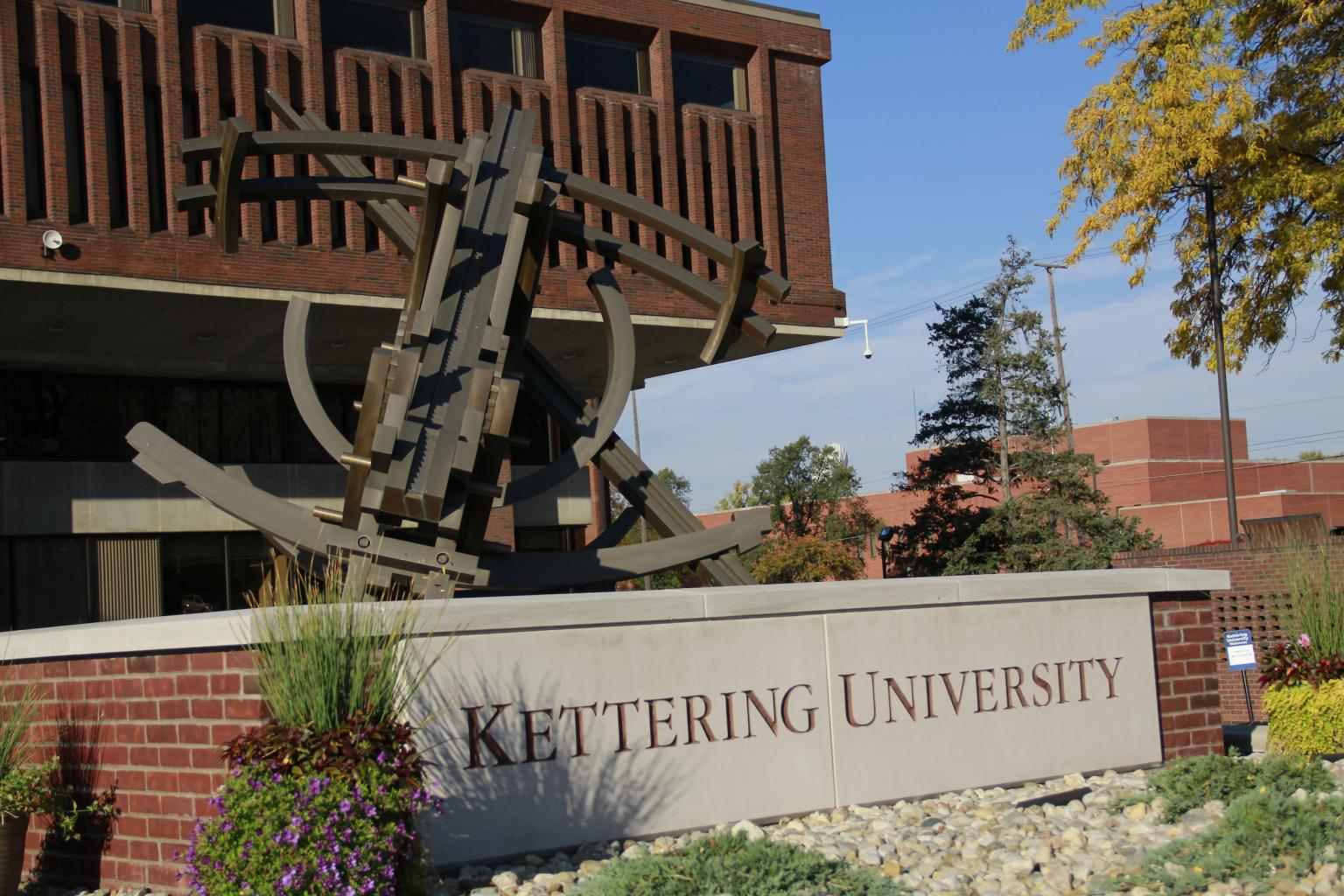 Orbits of Isaac sculpture at Kettering University's Campus Center entrance