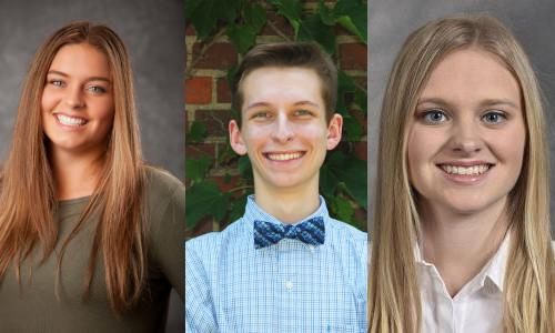 Gabrielle Malson ('22, CE), Thomas Sprecher ('23, EE) and Lindsey Malson ('21, CE) are 2021 inductees to Eta Kappa Nu.