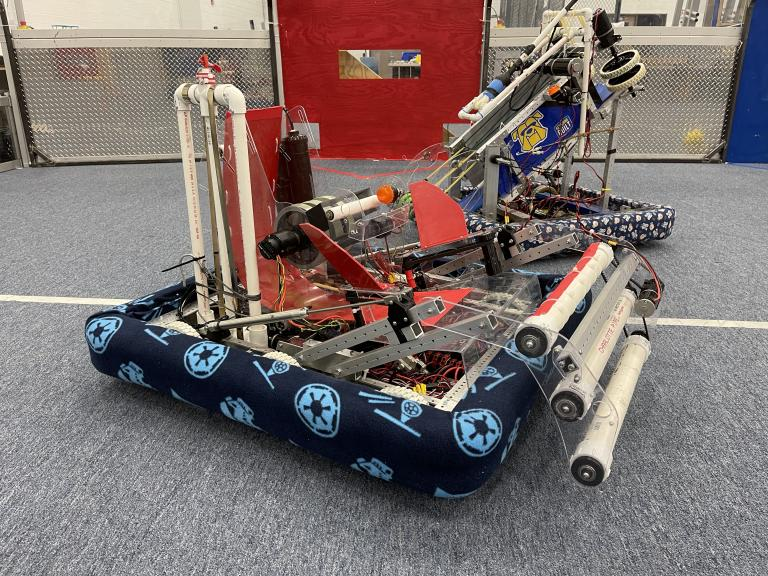 Two robots made by Kettering University students.