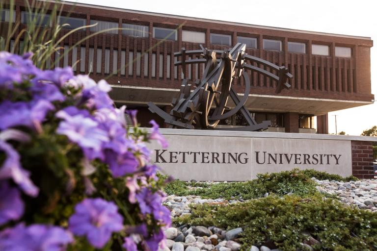 The Orbits of Isaac sculpture graces the entrance to Kettering University